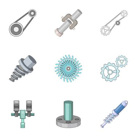 spare: Spare parts for machine tools icons set Illustration