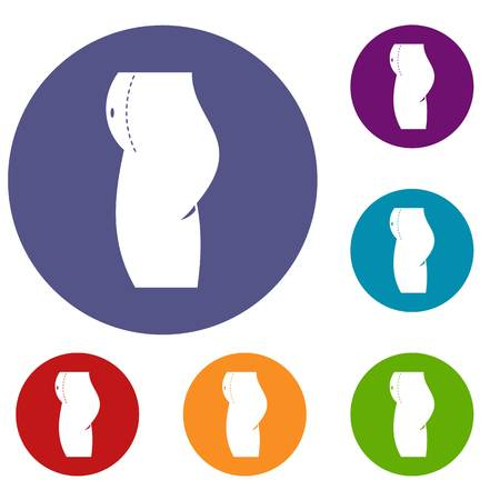 abdomen women: Woman prepared to belly surgery icons set Illustration