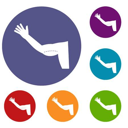 liposuction: Flabby arm cosmetic correction icons set