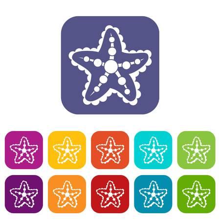 five star: Starfish icons set