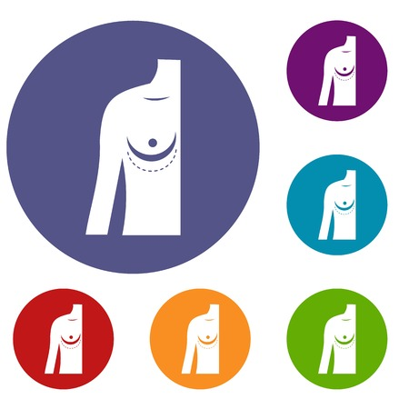 breast implant: Breast implant surgery. icons set Illustration