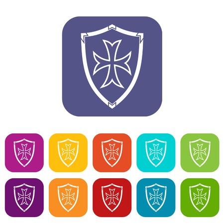 combatant: Protective shield icons set Illustration
