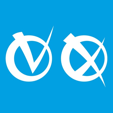 validation: Tick and cross in circles icon white