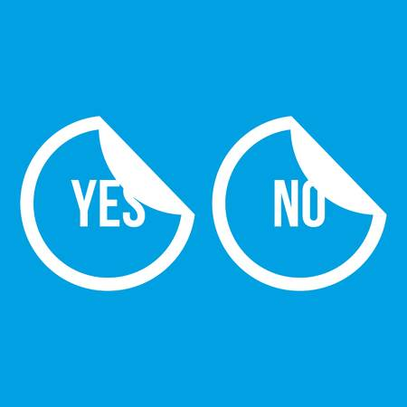 Yes and no buttons icon white Illustration