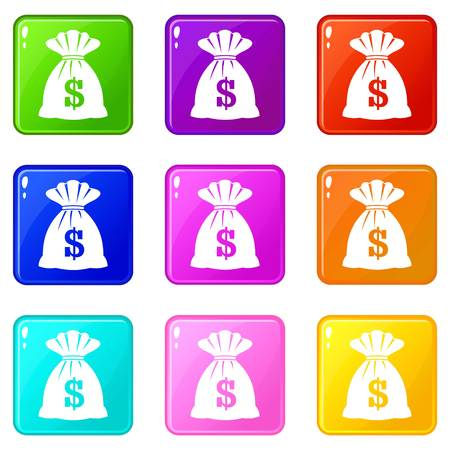 savings account: Bag with dollars icons of 9 color set isolated vector illustration