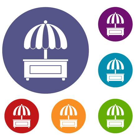 delivery truck: Shopping counter with umbrella icons set