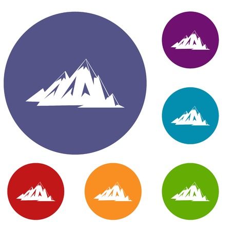 Canadian mountains icons set in flat circle red, blue and green color for web