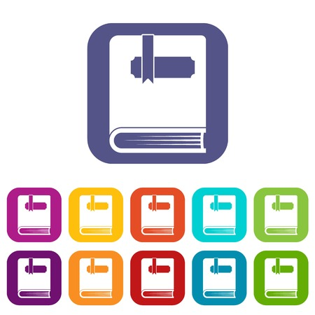 reader: Thick book with bookmark icons set Illustration