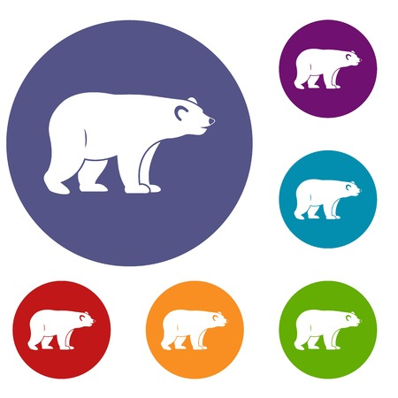 colorado rocky mountains: Wild bear icons set in flat circle red, blue and green color for web