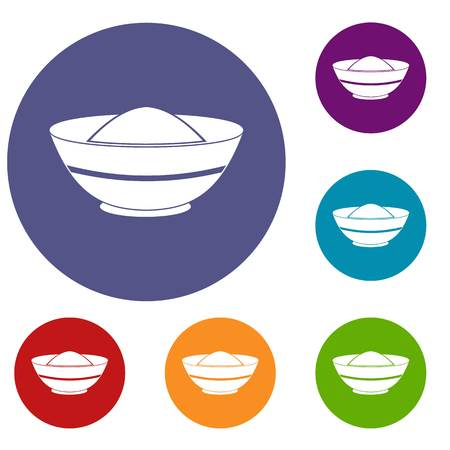Indian spicy icons set in flat circle red, blue and green color for web Illustration