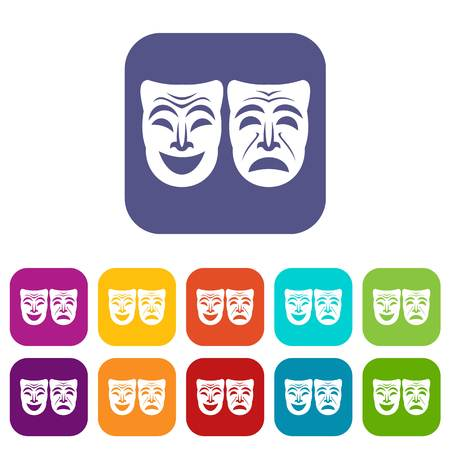 theatre masks: Happy and sad mask icons set vector illustration in flat style in colors