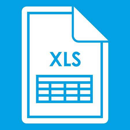 File XLS icon white isolated on blue background