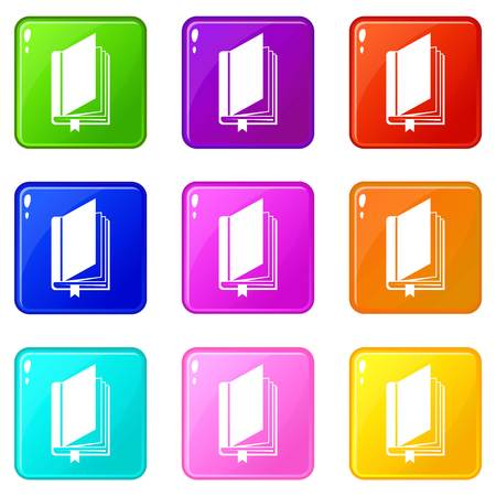 reader: Book with bookmark icons of 9 color set isolated vector illustration