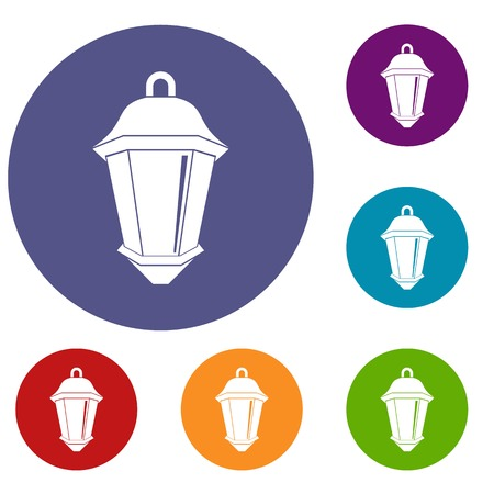 Street light icons set in flat circle red, blue and green color for web
