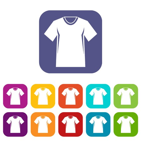 clothing store: Men tennis t-shirt icons set vector illustration in flat style in colors red, blue, green, and other