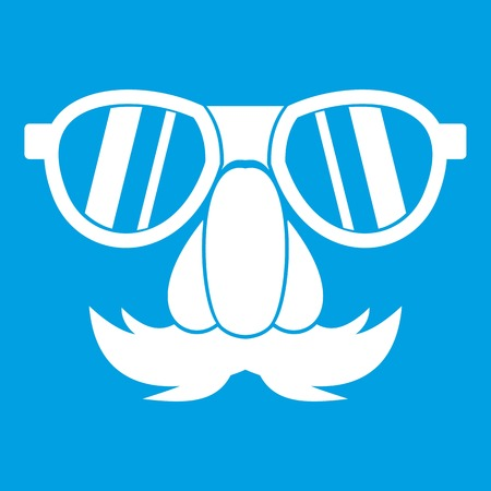 Clown face icon white isolated on blue background vector illustration