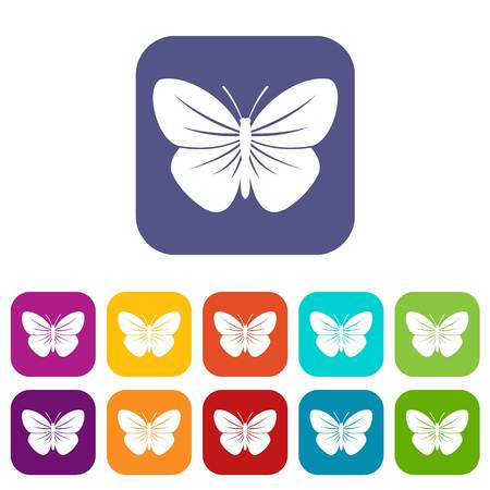 Black butterfly icons set vector illustration in flat style in colors red, blue, green, and other Illustration