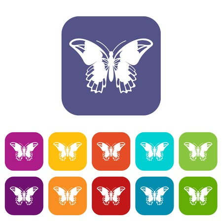 Admiral butterfly icons set vector illustration in flat style in colors red, blue, green, and other Illustration