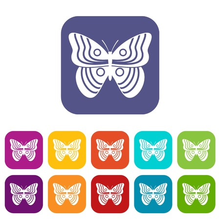 Stripped butterfly icons set vector illustration in flat style in colors red, blue, green, and other