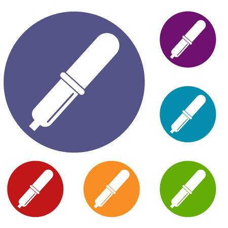 Pipette icons set in flat circle red, blue and green color for web