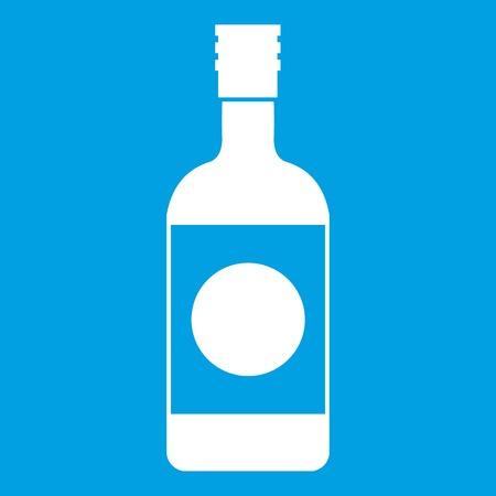 feast: Japanese sake icon white isolated on blue background vector illustration