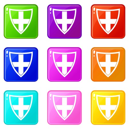 rivets: Shield for protection icons of 9 color set isolated vector illustration