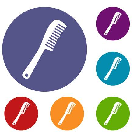 Comb icons set in flat circle red, blue and green color for web Illustration