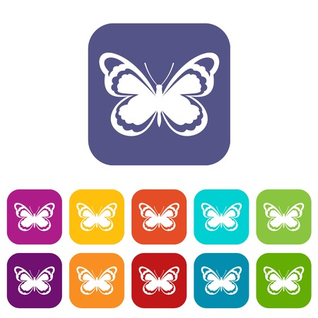 Small butterfly icons set Illustration