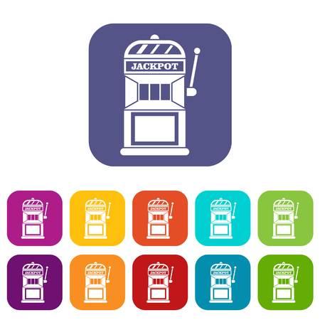 Gamble machine icons set