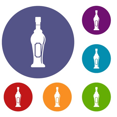 Alcohol bottle icons set in flat circle red, blue and green color for web