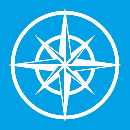 Sign of compass to determine cardinal directions icon white isolated on blue background vector illustration Illustration
