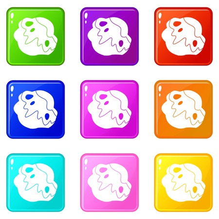 meteor crater: Moon stone icons of 9 color set isolated vector illustration