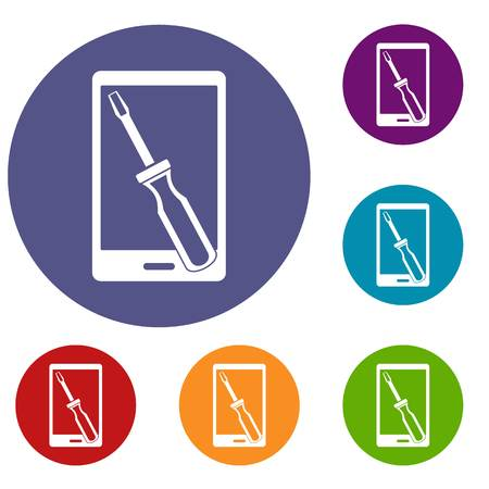 Renovation phone icons set in flat circle red, blue and green color for web Illustration