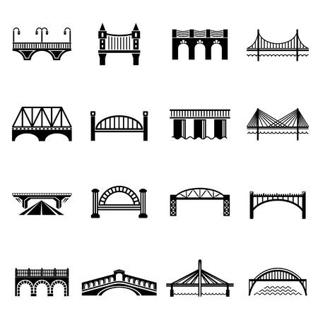 Jeu d'icônes de pont. Illustration simple de 16 icônes de pont définir des icônes vectorielles pour le web