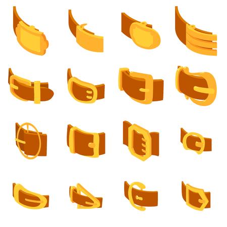 waistband: Belt buckle icons set. Isometric illustration of 16 belt buckle icons set vector icons for web