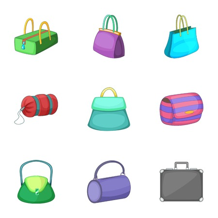 Various types of bags icons set, cartoon style