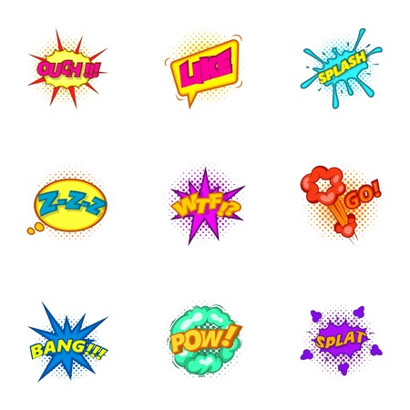 cartoon bomb: Explosive stickers icons set, cartoon style