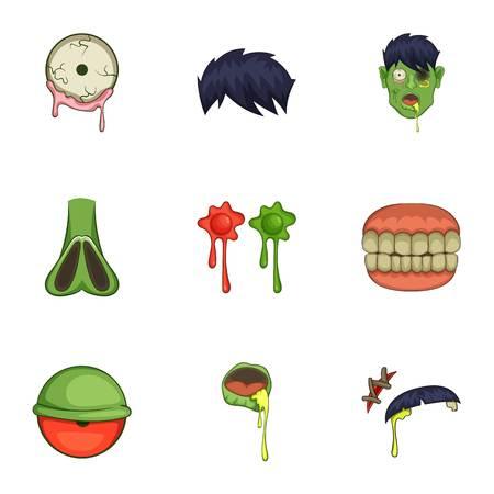 Zombie constructor icons set, cartoon style Illustration