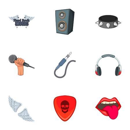 hard: Hard rock things icons set, cartoon style