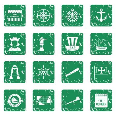 ship anchor: Columbus Day icons set grunge