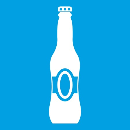 Bottle of beer icon white Illustration