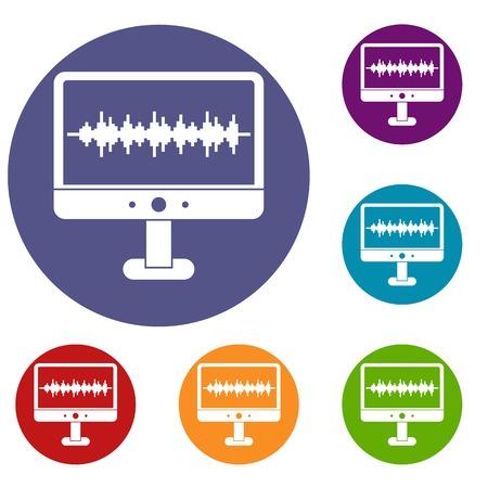 electronic music: Sound waves icons set Illustration