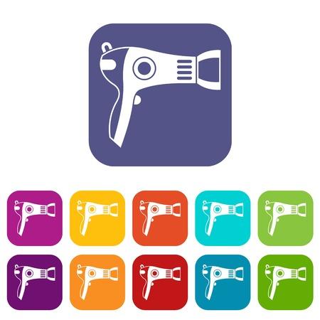 hairdryer: Hairdryer icons set Illustration
