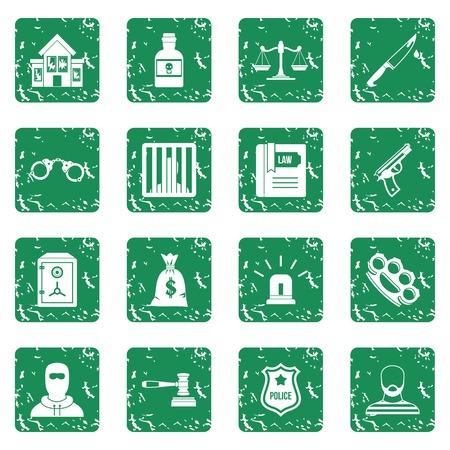 justice scale: Crime and punishment icons set grunge Illustration