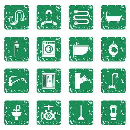appliances: Plumbing icons set grunge