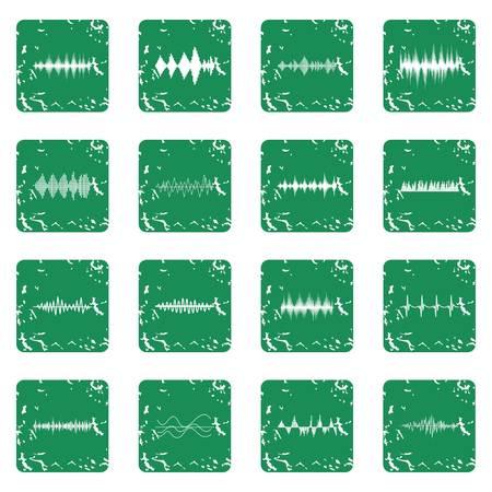 Sound wave icons set grunge