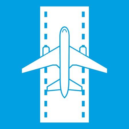 白い滑走路アイコン上の航空機