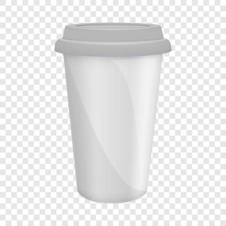 Paper coffee cup with lid mockup, realistic style