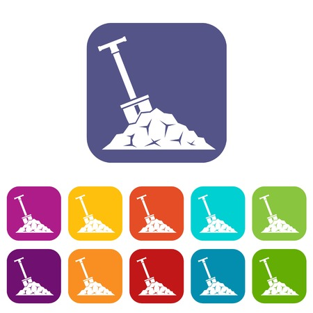 Shovel in coal icons set Illustration