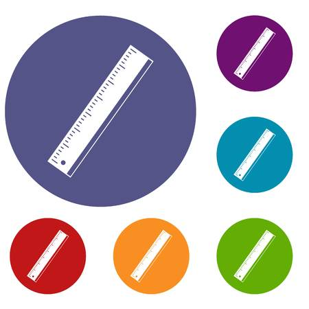 Yardstick icons set Illustration